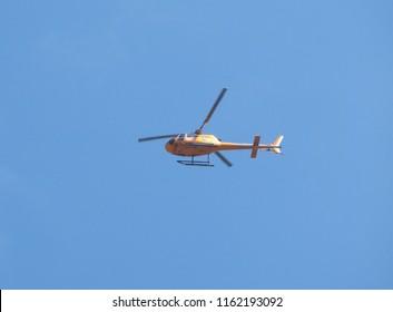 LONDON, UK - CIRCA JUNE 2018: Carabao Thai energy drink helicopter