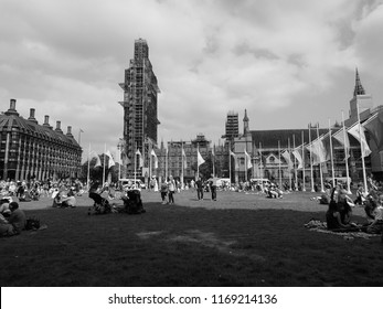 LONDON, UK - CIRCA JUNE 2018: Women suffrage at 100. Women march across London to the Parliament Square to celebrate the centenary of female voting. in black and white