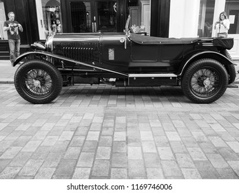 LONDON, UK - CIRCA JUNE 2018: 1929 Bentley 4 1/2 Litre vintage car in Covent Garden in black and white