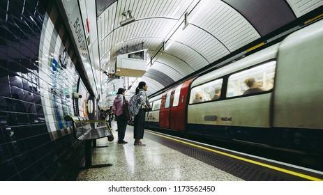 LONDON, UK - CIRCA JUNE 2018: London Underground Tube station platform