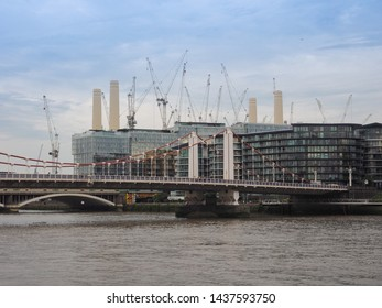 LONDON, UK - CIRCA JUNE 2019: Panoramic view of River Thames with Battersea Power Station and Chelsea Bridge