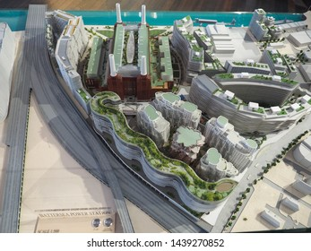 LONDON, UK - CIRCA JUNE 2019: 3D model of the Battersea Power Station at Circus West free exhibition