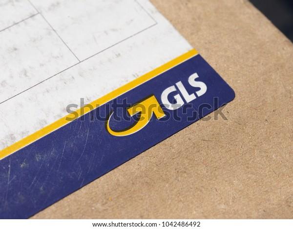 LONDON, UK - CIRCA MARCH 2018: GLS courier parcel