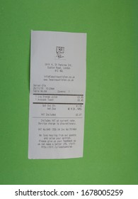 """LONDON, UK - CIRCA MARCH 2020: breakfast at Le Pain Quotidien (translation:  """" the daily bread """") bill or receipt"""