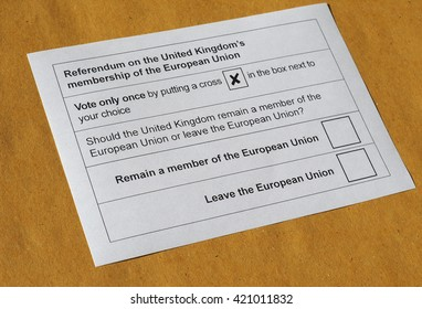 LONDON, UK - CIRCA MAY 2016: Ballot paper for June 23 referendum: Should the United Kingdom remain a member of the European Union or leave the European Union. The poll is aka Brexit