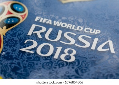 LONDON, UK - CIRCA MAY 2018: Official logo for the World Cup 2018 printed on a Panini official sticker book