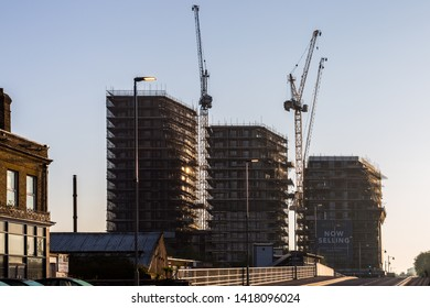 London U.K. Circa May 2019 Walthamstow London is seeing major housing projects and developments, where cranes and scaffolding are becoming part of the landscape.