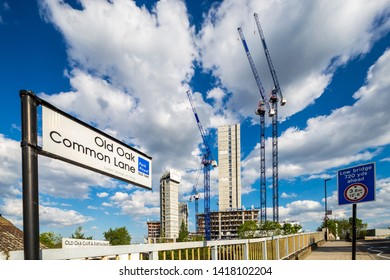 London U.K. Circa May 2019 Major works  including new housing developments near the site of the new HS2 Interchange in London's North Acton,at Old Oak Common