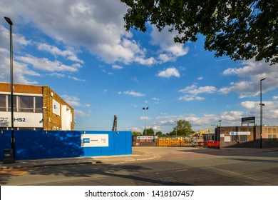 London u.k. Circa May 2019 One of many sites that are earmarked for the development of the massive HS2 development centred around the North West area of London,at Acton