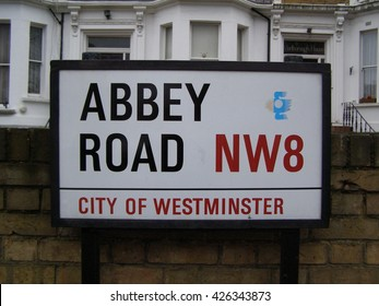 LONDON, UK - CIRCA NOVEMBER 2009: Abbey Road street sign in front of the EMI recording studios, where the Beatles recorded most of their albums