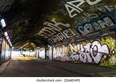 LONDON, UK / CIRCA OCTOBER 2014 - Graffiti covered tunnel by unknown artists, seen on Leake Street public gallery