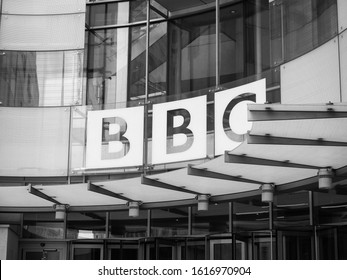 LONDON, UK - CIRCA SEPTEMBER 2019: BBC Broadcasting House headquarters of the British Broadcasting Corporation in Portland Place in black and white