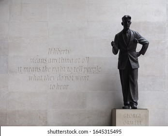 LONDON, UK - CIRCA SEPTEMBER 2019: George Orwell in front of BBC Broadcasting House in Portland Place