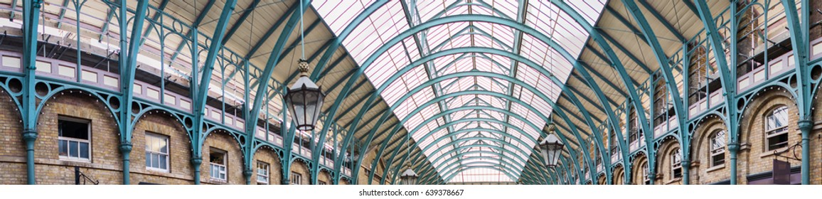 London, UK. Covent Garden Market roof, panoramic view.