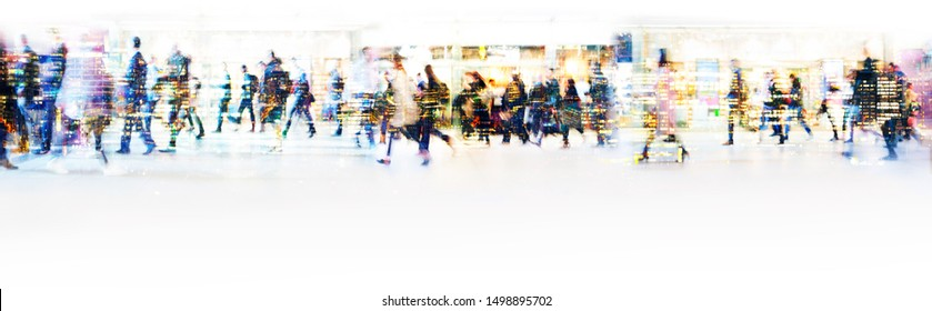 London, UK. Crowd of people walking at work in early morning. Concept wide background with  space for text. Multiple exposure image