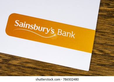 LONDON, UK - DEC 18TH 2017: The Sainsburys Bank logo, pictured on a promotional leaflet, on 18th December 2017.  Sainsburys Bank is a British bank owned by the national supermarket chain Sainsburys.