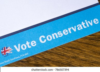 LONDON, UK - DEC 18TH 2017: Close-up of a campaign leaflet trying to persuade the reader to Vote Conservative, on 18th December 2017.