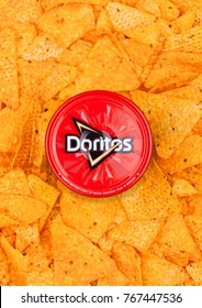 LONDON, UK - DECEMBER 01, 2017: Doritos tortilla chips with Hot Salsa Dip  with nachos