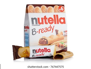 LONDON, UK - DECEMBER 01, 2017: Nutella B-Ready chocolate bars nox on white background.Nutella is the brand name of a chocolate hazelnut