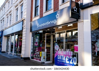 London UK, December 01 2020, Superdrug High Street Beauty and Pharmacy Shop Front Sign And Logo With No People