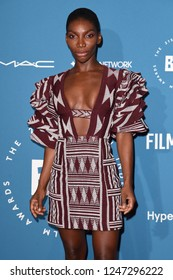 LONDON, UK. December 02, 2018: Michaela Coel at the British Independent Film Awards 2018 at Old Billingsgate, London.