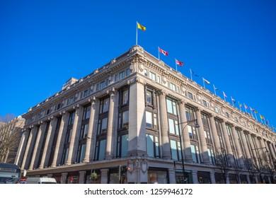 London, UK - December 04, 2018 - Exterior of Selfridges department stores on Oxford street