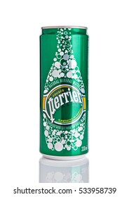 LONDON, UK - DECEMBER 06, 2016: Tin of Perrier sparkling mineral water. Perrier is a French brand of natural bottled mineral water sold worldwide.
