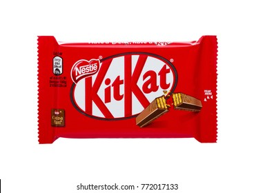 LONDON, UK -DECEMBER 07, 2017: Kit Kat chocolate bar on white background. Bars Kit Kat is produced by Nestle company.