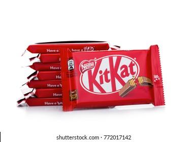 LONDON, UK -DECEMBER 07, 2017: Kit Kat chocolate bar on white background. Bars Kit Kat is produced by Nestle company.