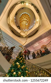 LONDON, UK - DECEMBER 08, 2018: Fortnum and Mason is decorated for Christmas. Established 1707 by William Fortnum and Hugh Mason in Piccadilly London it's one of the worlds finest department stores