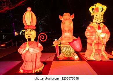 LONDON, UK - DECEMBER 09, 2018: London's new lantern festival at Southwark Park features over 160 giant lanterns telling the story of both Alice in Wonderland and Through the Looking Glass