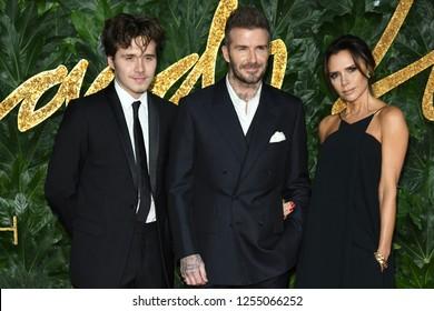 LONDON, UK. December 10, 2018: Brooklyn Beckham, David Beckham & Victoria Beckham at The Fashion Awards 2018 at the Royal Albert Hall, London.Picture: Steve Vas/Featureflash