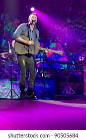 LONDON, UK - DECEMBER 10: Coldplay perform to a sellout crowd in Londons O2 Arena, on the December 10, 2011 in London, UK