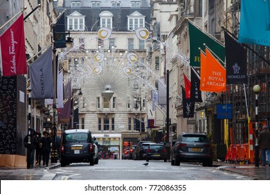 LONDON, UK - DECEMBER 10th, 2017:  New Bond Street gets decorated for Christmas period. Bond Street is a major shopping street in the West End of London.