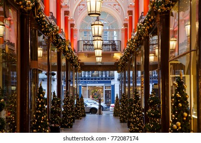 LONDON, UK - DECEMBER 10th, 2017: Royal Arcade on New Bond Street gets decorated for Christmas period
