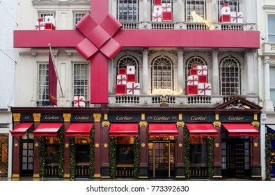 LONDON, UK - DECEMBER 10th, 2017: Cartier shop on New Bond Street gets decorated for Christmas period. Cartier has three flagship boutiques: Paris, London, and New York.