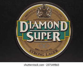 LONDON, UK - DECEMBER 11, 2014: Beermat of British beer Diamond Super