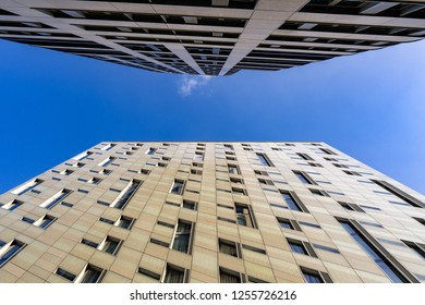 LONDON, UK - DECEMBER 11, 2018: M By Montcalm Shoreditch Tech City. London. An 18 storey hotel design by architects -  Squire and Partners.
