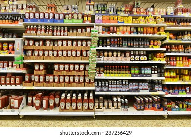 London, UK - December 12, 2014: Shelf view of a Tesco supermarket store. Britain's Tesco supermarket chain is the world's third largest retailer after America's Walmart and France's Carrefour.