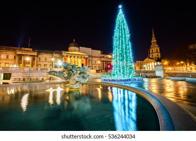 LONDON, UK - DECEMBER 12, 2016:The National Gallery and Trafalgar Square with Christmas tree, London