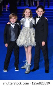 "LONDON, UK. December 12, 2018: Joel Dawson, Pixie Davies & Nathanael Saleh at the UK premiere of ""Mary Poppins Returns"" at the Royal Albert Hall, London.