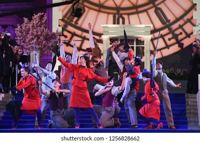 "LONDON, UK. December 12, 2018: performers at the UK premiere of ""Mary Poppins Returns"" at the Royal Albert Hall, London.