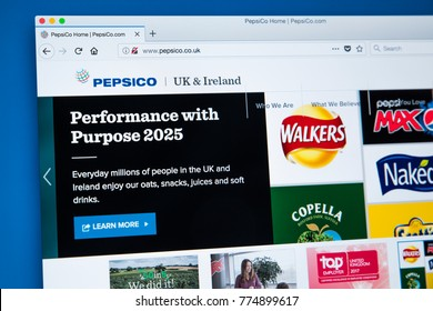 LONDON, UK - DECEMBER 14TH 2017: The homepage of the official website for PepsiCo - the American multinational food, snack and beverage corporation, on 14th December 2017.