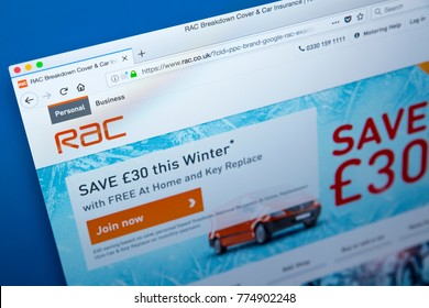 LONDON, UK - DECEMBER 14TH 2017: Homepage of the official website for RAC Limited - the British automotive services company offering roadside assistance and general insurance, on 14th December 2017.