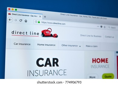 LONDON, UK - DECEMBER 14TH 2017: The homepage of the official website for Direct Line Insurance Limited - the British insurance company, on 14th December 2017.