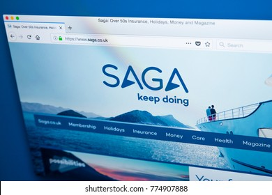 LONDON, UK - DECEMBER 14TH 2017: The homepage of the official website for Saga plc -the British company focused on serving the needs of those aged 50 and over, on 14th December 2017.
