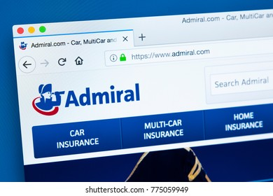 LONDON, UK - DECEMBER 14TH 2017: The homepage of the official website for Admiral Insurance - the car insurance specialist, on 14th December 2017.