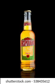 LONDON, UK - DECEMBER 15, 2016: Bottle of Desperados beer, lager flavored with tequila is a popular beer produced by Heineken and sold in over 50 countries.