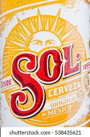 LONDON, UK - DECEMBER 15, 2016: Bottle of Sol Mexican Beer close up label. From the Cuauhtemoc Moctezuma Brewery, in Monterey, Mexico, it was first introduced in the 1890's as El Sol.