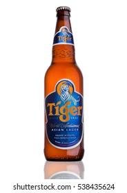 LONDON, UK, DECEMBER 15, 2016: Bottle of Tiger Beer on white background, First launched in 1932 is Singapore's first brewed beer.